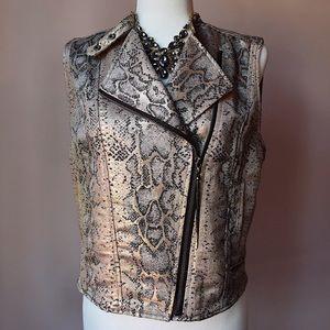Guess Metallic Snakeskin Print Cropped Vest